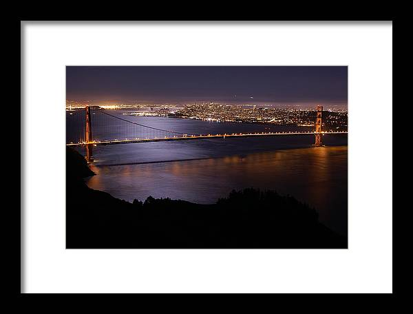 Golden Gate Framed Print featuring the photograph Golden Gate Bridge With Moonlit Reflections by Tim Atwater