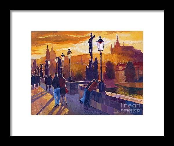 Oil On Canvas Framed Print featuring the painting Golden Prague Charles Bridge Sunset by Yuriy Shevchuk