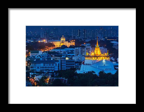 Bangkok Framed Print featuring the photograph Golden Temple Bangkok Night by Arthit Somsakul