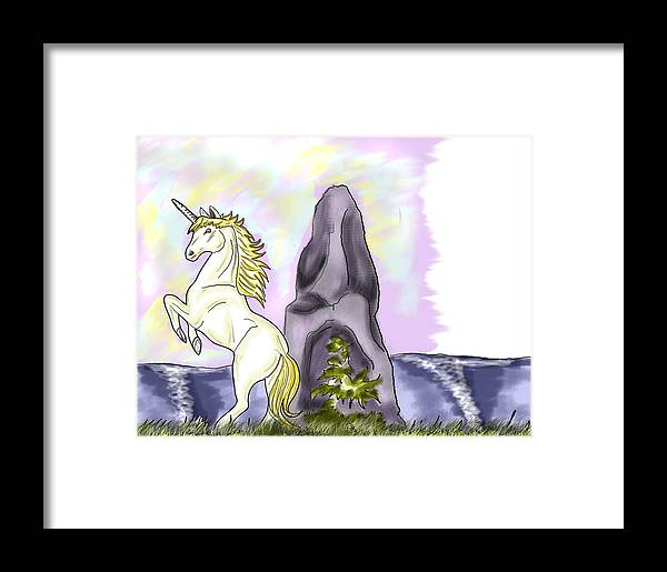 Unicorn By A Rock And Sea Framed Print featuring the digital art Golden Unicorn By The Sea by Sarah Reed