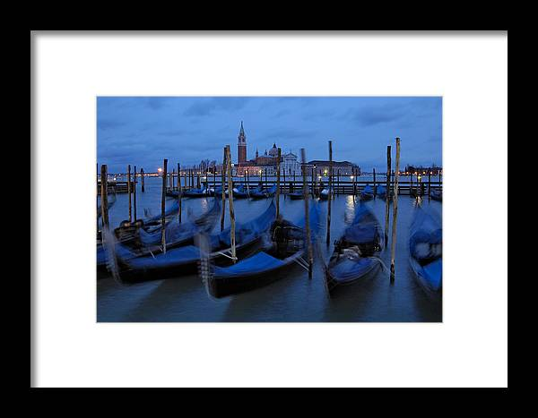Italy Framed Print featuring the photograph Gondolas At Dusk In Venice by Ayhan Altun