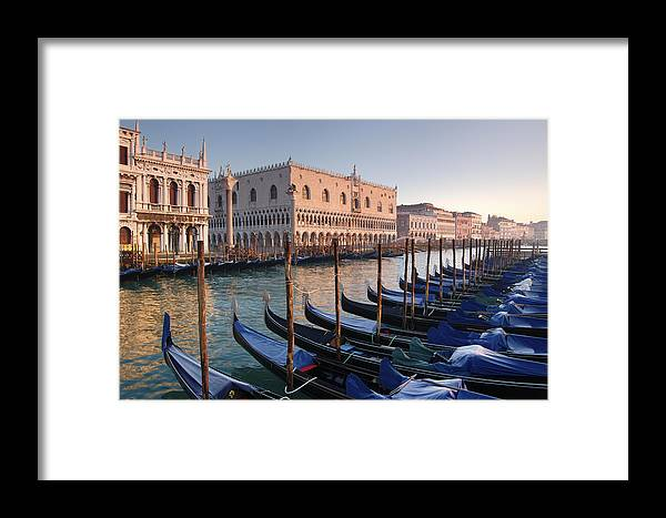 Color Image Framed Print featuring the photograph Gondolas Docked Outside Of Piazza San by Jim Richardson