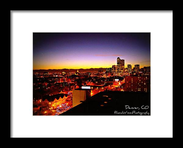 Denver Framed Print featuring the photograph Good Night Mile High by Rhonda DePalma