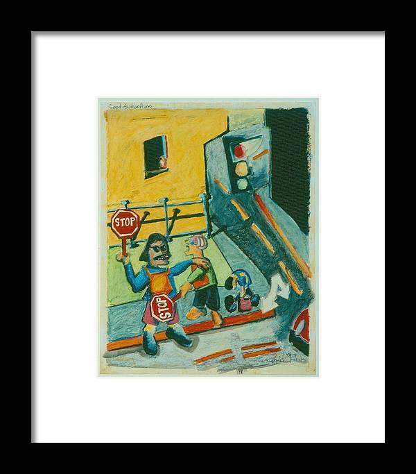 Urban Scenes Framed Print featuring the drawing Good Samaritans by David Martin