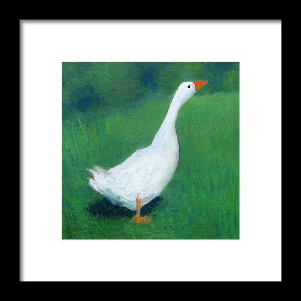 Goose Framed Print featuring the painting Goose On Green by Kazumi Whitemoon