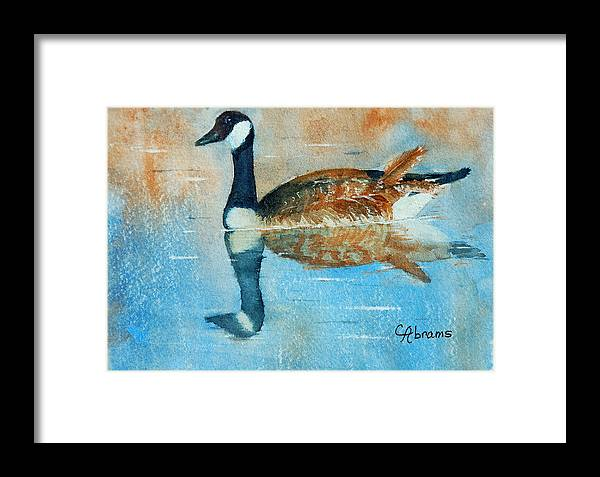 Goose Framed Print featuring the painting Goose Reflection by Claire Abrams