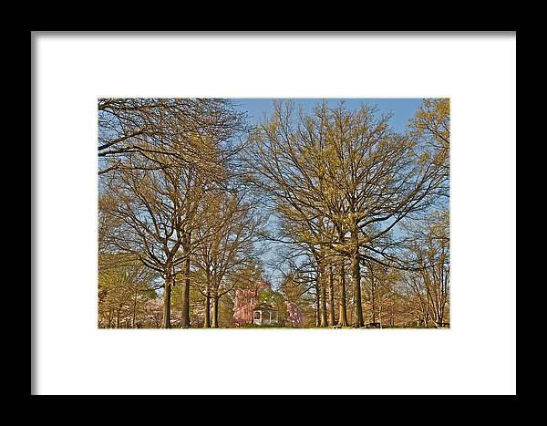 Scenic Trees Gazebo Cherry Blossoms Philadelphia Japanese Gardens Fairmount Framed Print featuring the photograph Gorgeous by Alice Gipson