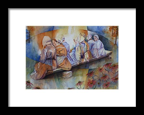 Costumed Figures In Landscape Framed Print featuring the painting Gossip Bench by Patsy Sharpe
