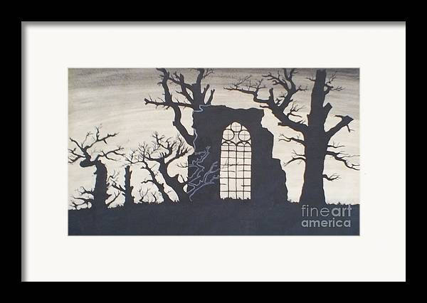 Gothic Framed Print featuring the drawing Gothic Landscape by Silvie Kendall