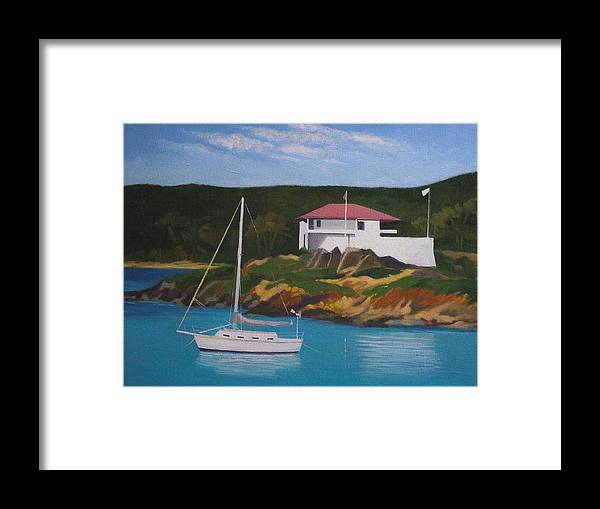 St. John Framed Print featuring the painting Government House At Cruz Bay by Robert Rohrich