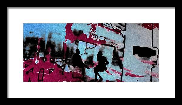 Silhouette Framed Print featuring the photograph Graffiti - Urban art serigrafia by Arte Venezia