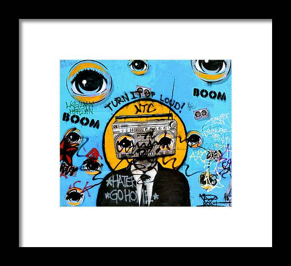 Graffiti Framed Print featuring the photograph Graffiti Boombox Man by Emilie Sullivan
