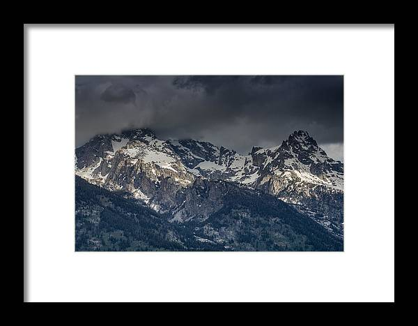 Grand Tetons National Park Framed Print featuring the photograph Grand Tetons Immersed In Clouds by Greg Nyquist
