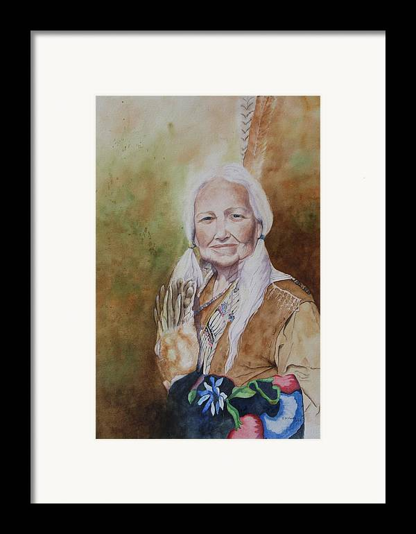 Native American Spirit Portrait Framed Print featuring the painting Grandmother Many Horses by Patsy Sharpe