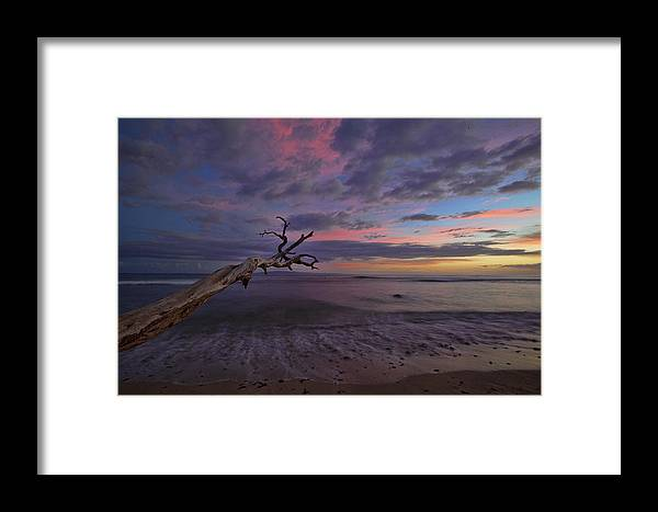 Maui Hawaii Grandpas Ebb Flow Sunset Colorful Seashore Framed Print featuring the photograph Grandpa's by James Roemmling
