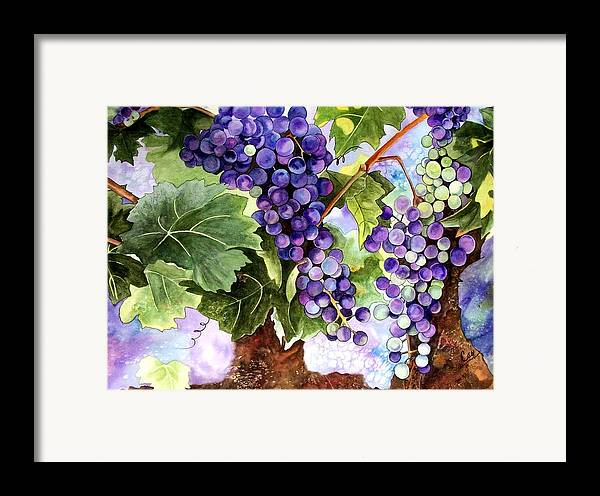 Grapes Framed Print featuring the painting Grape Vines by Karen Casciani