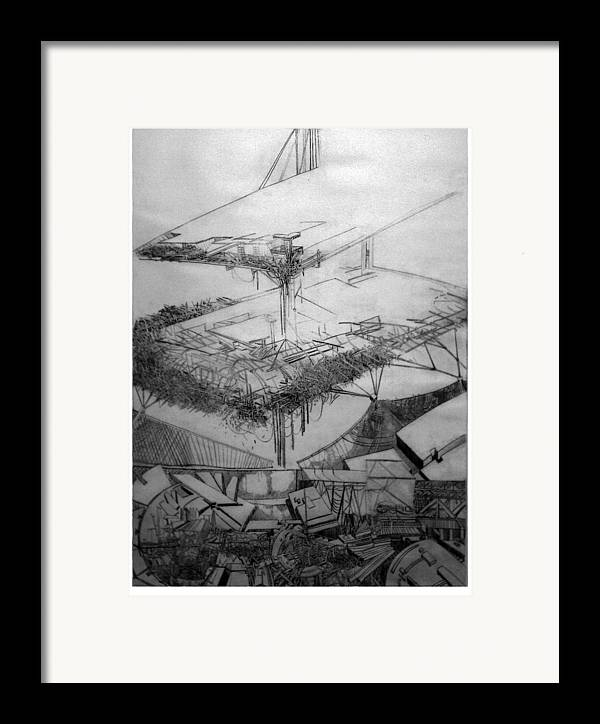 Abstract Framed Print featuring the drawing Graphic Art Europa 2013 by Waldemar Szysz