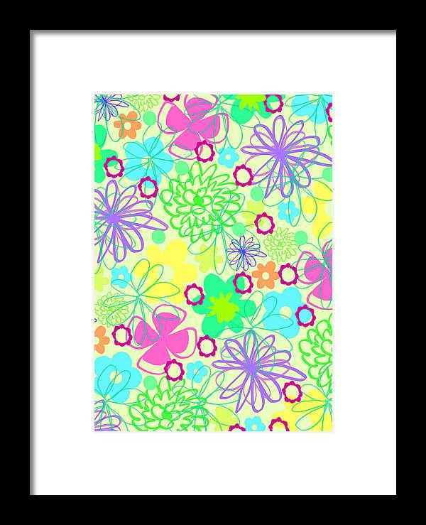 Flower Framed Print featuring the digital art Graphic Flowers by Louisa Knight