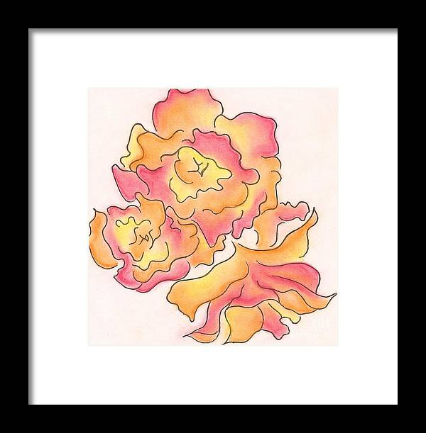 Rose Framed Print featuring the drawing Graphic Rose by Caroline Ferrante