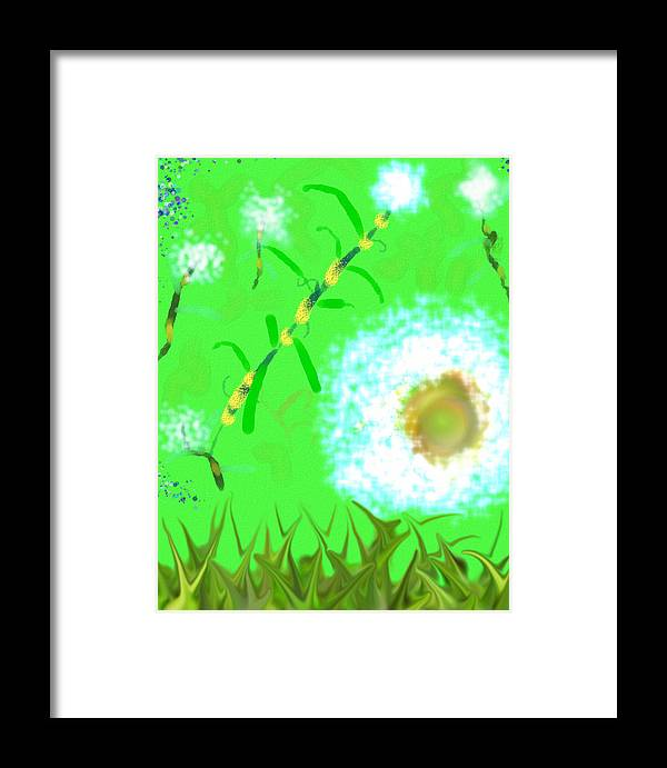 Grass Abstract Surrealism Framed Print featuring the digital art Grassy by Bud G Ball