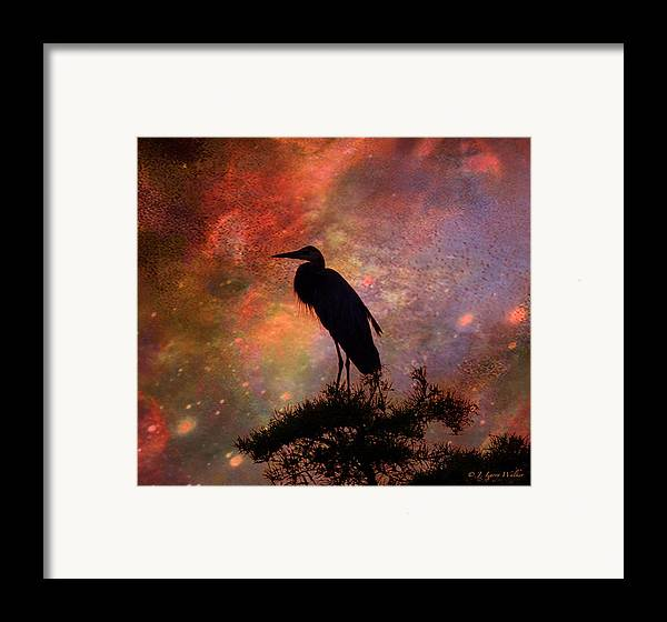 J Larry Walker Framed Print featuring the digital art Great Blue Heron Viewing The Cosmos by J Larry Walker