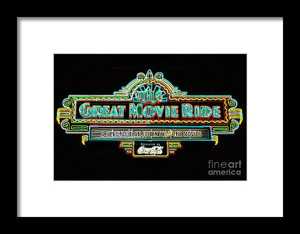 Travelpixpro Framed Print featuring the digital art Great Movie Ride Neon Sign Hollywood Studios Walt Disney World Prints Glowing Edges by Shawn O'Brien