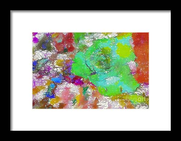 Green Rose Framed Print featuring the digital art Green Abstract Rose by Barbara Griffin