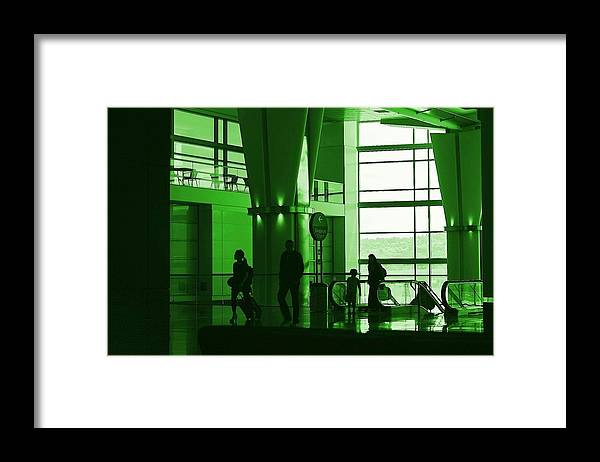 Green Framed Print featuring the photograph Green Airport by Ron Morales