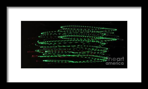 Light Travels Framed Print featuring the photograph Green Arrows by Rrrose Pix
