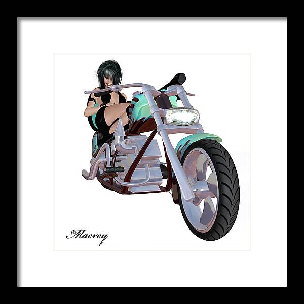 Digital Images Framed Print featuring the digital art Green Bike by Ralph Rey