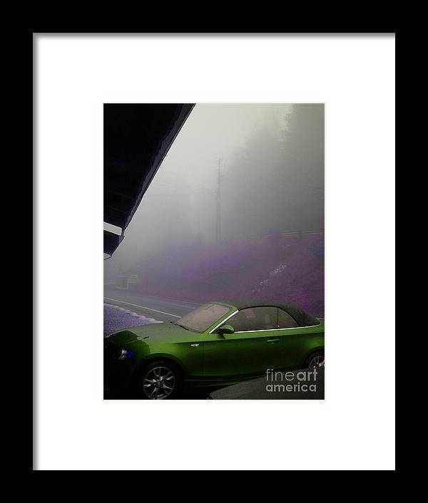 Fog Framed Print featuring the photograph Green Car by Beebe Barksdale-Bruner