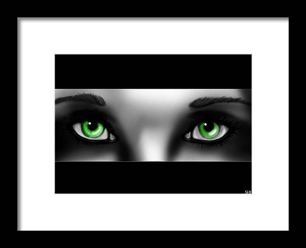 Hope Framed Print featuring the painting Green Eyes by Sandra Geis