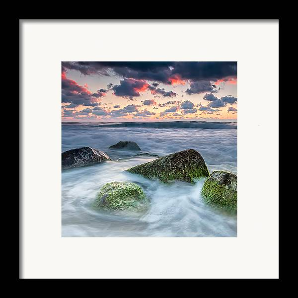 Black Sea Framed Print featuring the photograph Green Stones by Evgeni Dinev