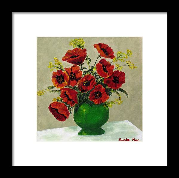 Flowers Framed Print featuring the painting Green Vase Red Poppies by Susan McLean Gray