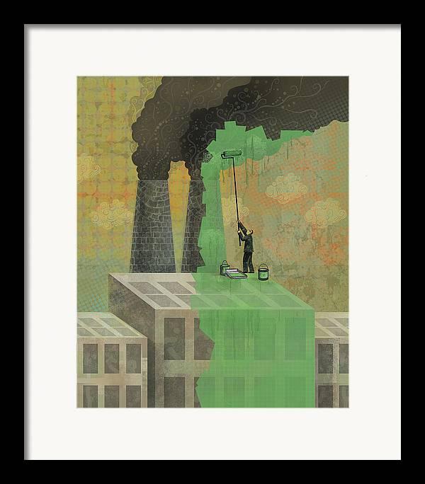 Framed Print featuring the digital art Greenwashing by Dennis Wunsch