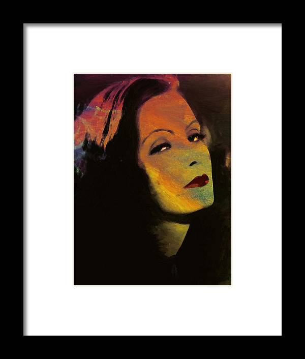 84ac3eab45b Greta Garbo Actress Famous Beauty Face Portrait Expressionism Impressionism  Framed Print featuring the painting Greta Garbo