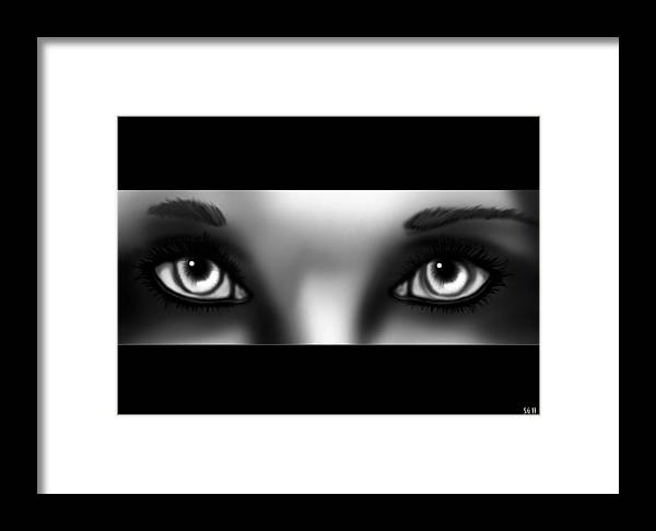 Eye Framed Print featuring the painting Grey Eyes by Sandra Geis