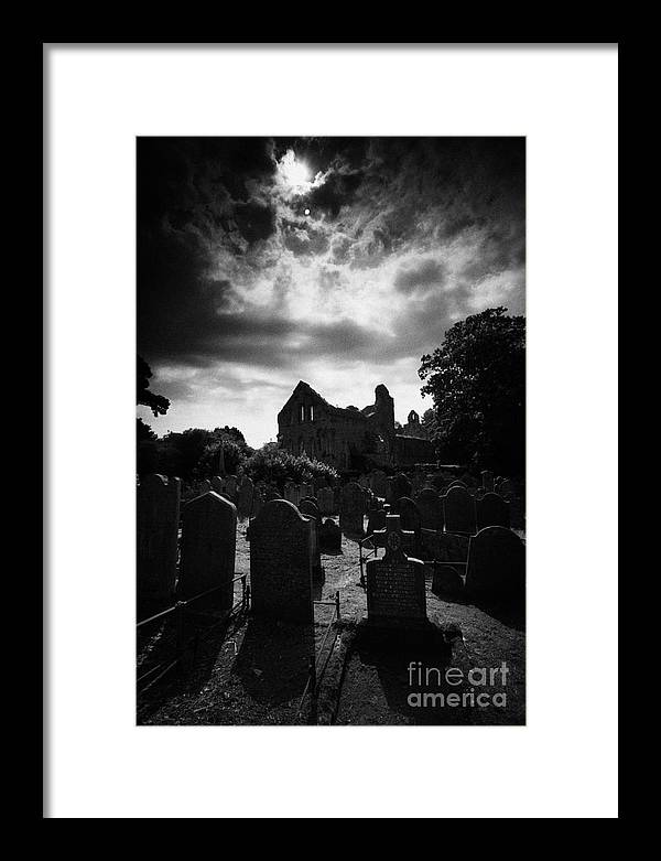 County Down Framed Print featuring the photograph Greyabbey Abbey And Graveyard Cemetary County Down Ireland by Joe Fox