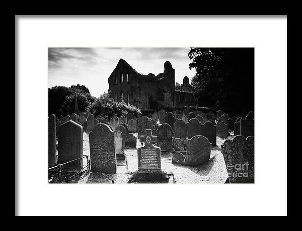 County Down Framed Print featuring the photograph Greyabbey Abbey Ruin Graveyard Cemetary Ireland by Joe Fox