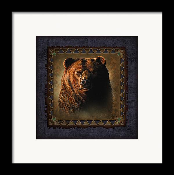 Wildlife Framed Print featuring the painting Grizzly Lodge by JQ Licensing