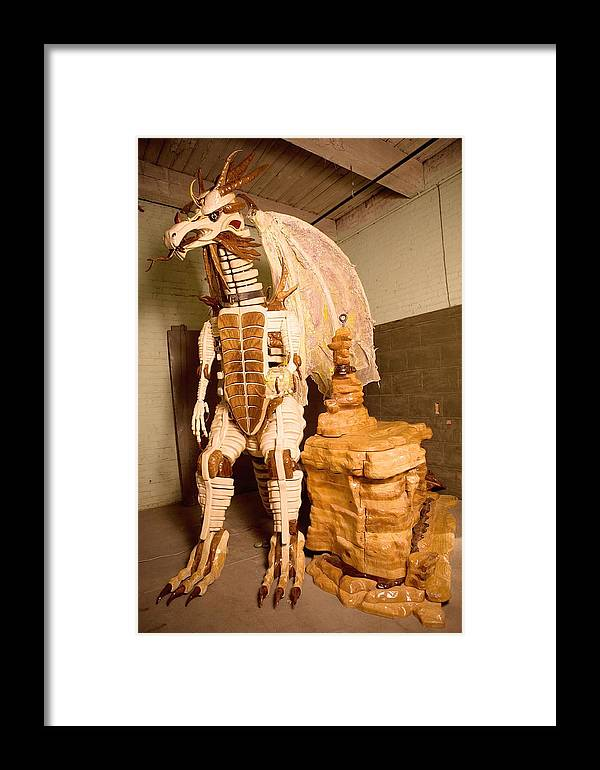 Dragon Framed Print featuring the sculpture Grogairn Gerth Halftonage by Thomas Thomas