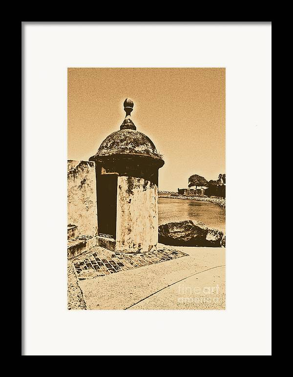 El Morro Framed Print featuring the digital art Guard Post Castillo San Felipe Del Morro San Juan Puerto Rico Rustic by Shawn O'Brien