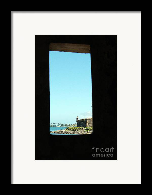 El Morro Framed Print featuring the photograph Guard Tower View Castillo San Felipe Del Morro San Juan Puerto Rico by Shawn O'Brien