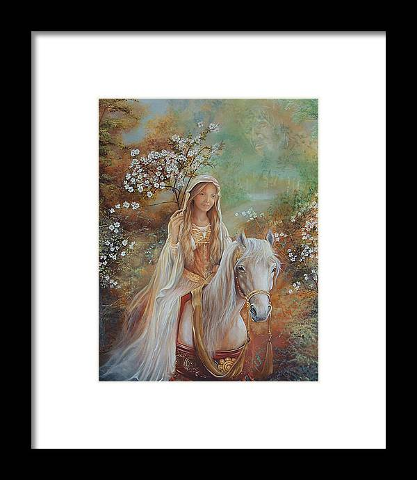 Fantasy Framed Print featuring the painting Guinevere by Penny Golledge