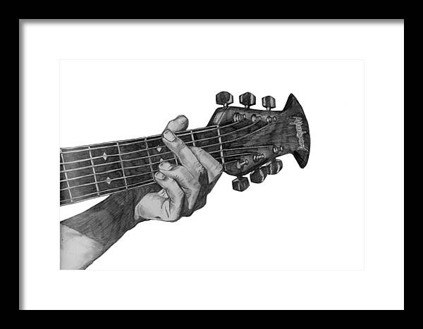 Guitar Framed Print featuring the drawing Guitarist by Abigail Fleetwood