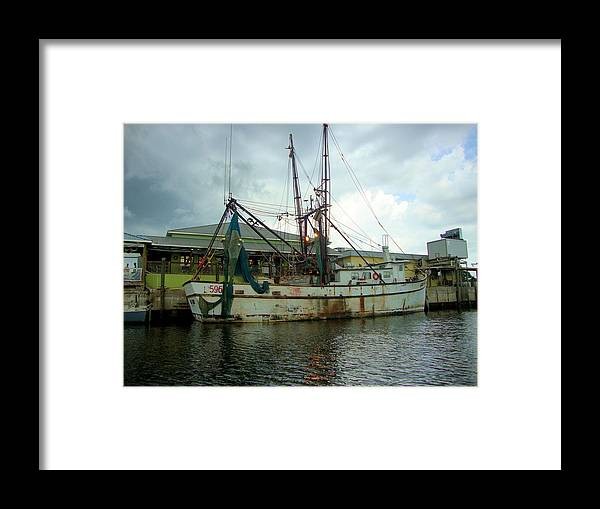 Fishing Boat Framed Print featuring the photograph Gulf Queen by Sonya Priest