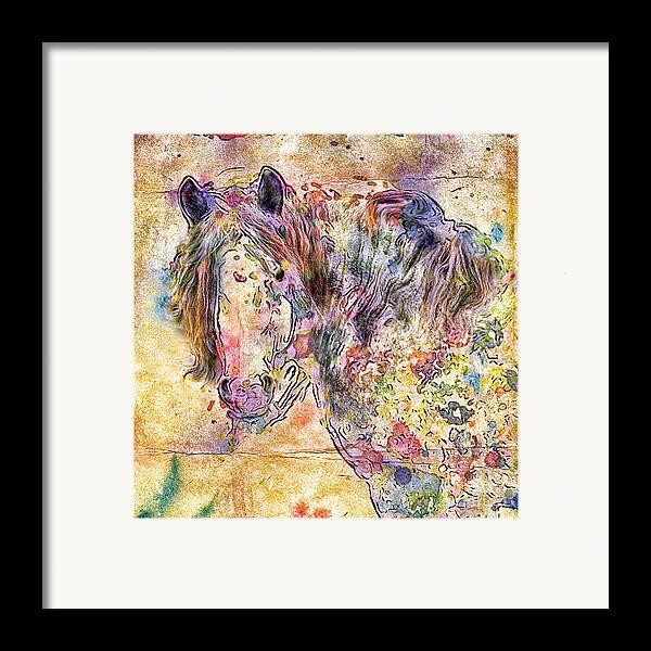 Horses Framed Print featuring the digital art Gypsy Babe by Marilyn Sholin