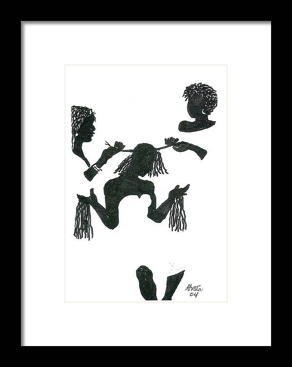 Women Framed Print featuring the drawing Hair Braiding by Rhetta Hughes