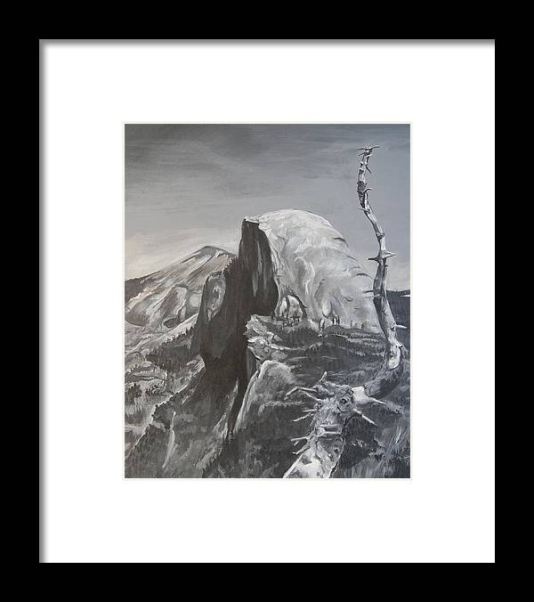 Black And White Painting Framed Print featuring the painting Half Dome Tree by Travis Day