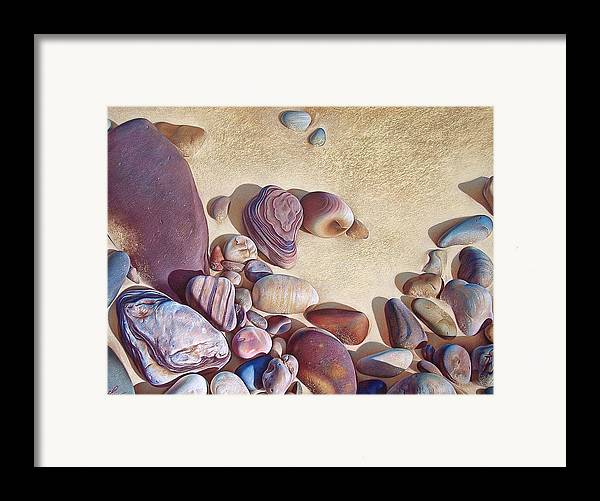 Stones Framed Print featuring the drawing Hallett Cove's Stones by Elena Kolotusha